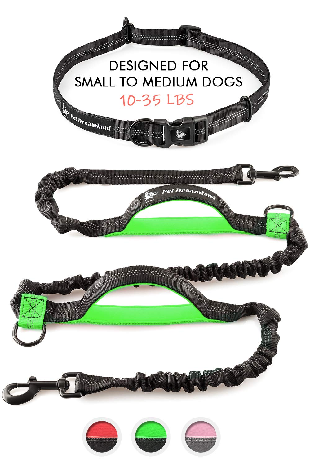 Pet Dreamland Hands Free Leash for Walking - Medium Dogs Leashes - Retractable Waist Leashes for Small Dogs (Black & Green)