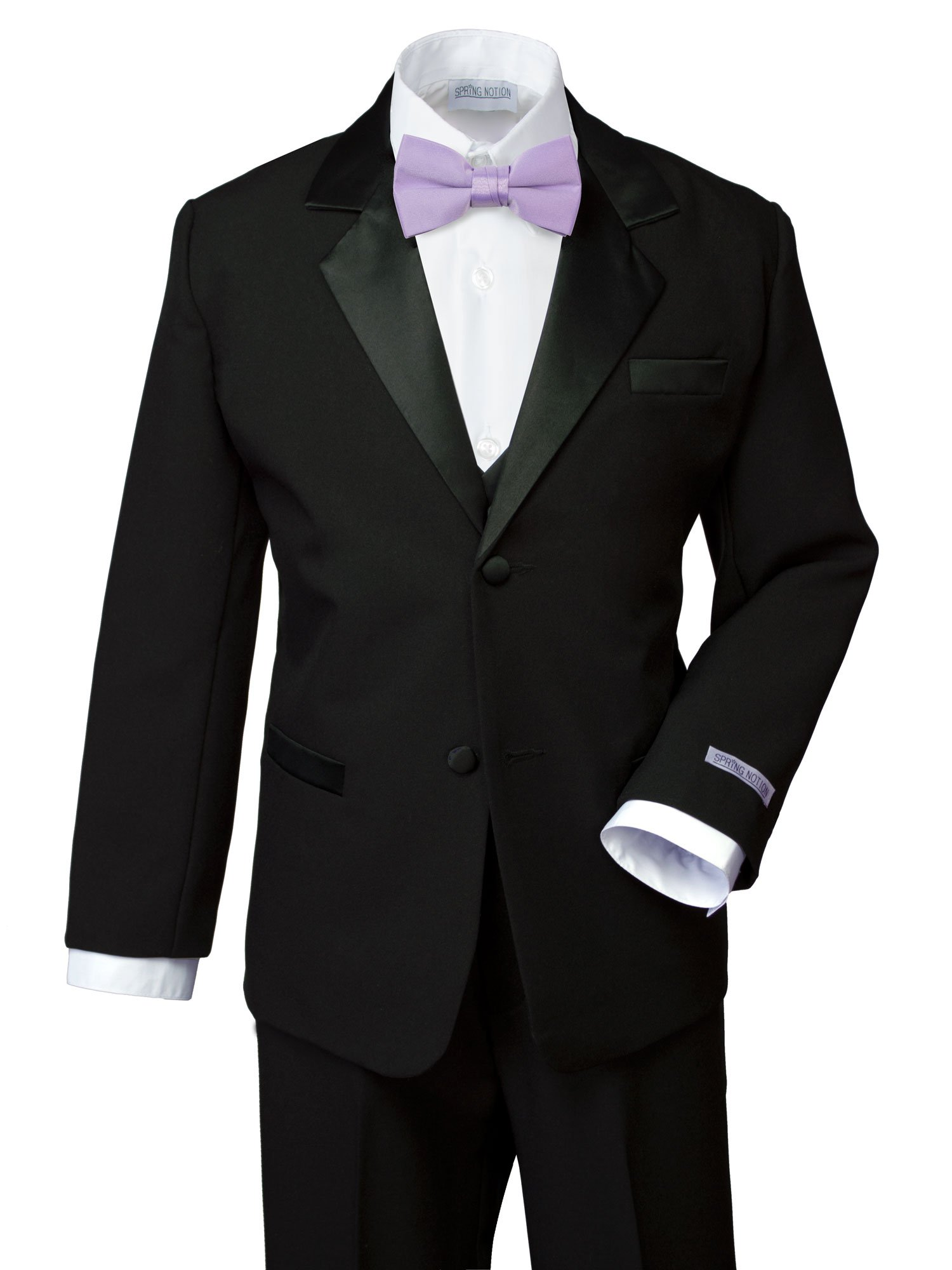 Spring Notion Boys' Classic Fit Tuxedo Set, No Tail Medium/6-12M Black-Lilac