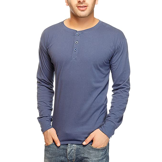d4aa5078515 GRITSTONES Men s Button Front T-Shirt (GSFSNWHENNBLU Blue X-Large ...