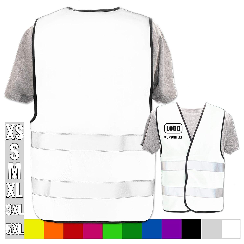Druckposition:Linke Brust Farbe Warnweste:Rot XL//XXL 10 x 10 cm Hochwertige Warnweste mit Leuchtstreifen * Bedruckt mit Name Text Bild Logo Firma * personalisiertes Design selbst gestalten