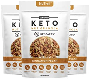 NuTrail™ - Keto Nut Granola Healthy Breakfast Cereal - Low Carb Snacks & Food - 2g Net Carbs - Almonds, Pecans, Coconut and more (11 oz) (1 Count) (3 Count)