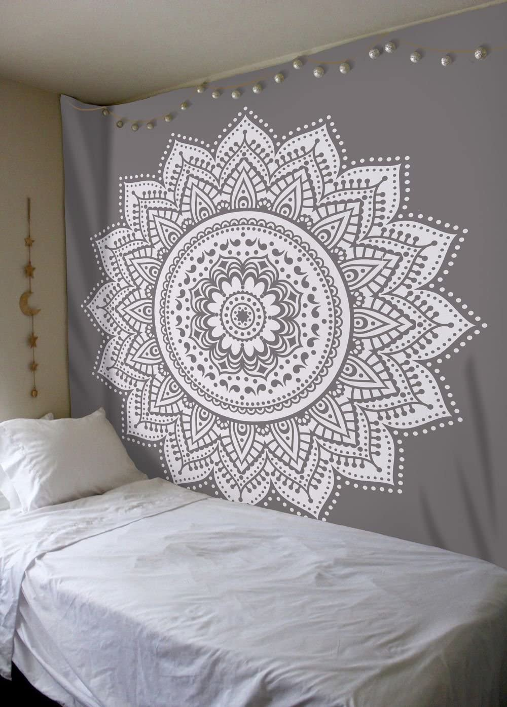 Labhanshi Gray Mandala Tapestry, Indian Hippie Wall Hanging, Bohemian Queen Wall Hanging, Bedspread Beach Tapestry 82×92 inch