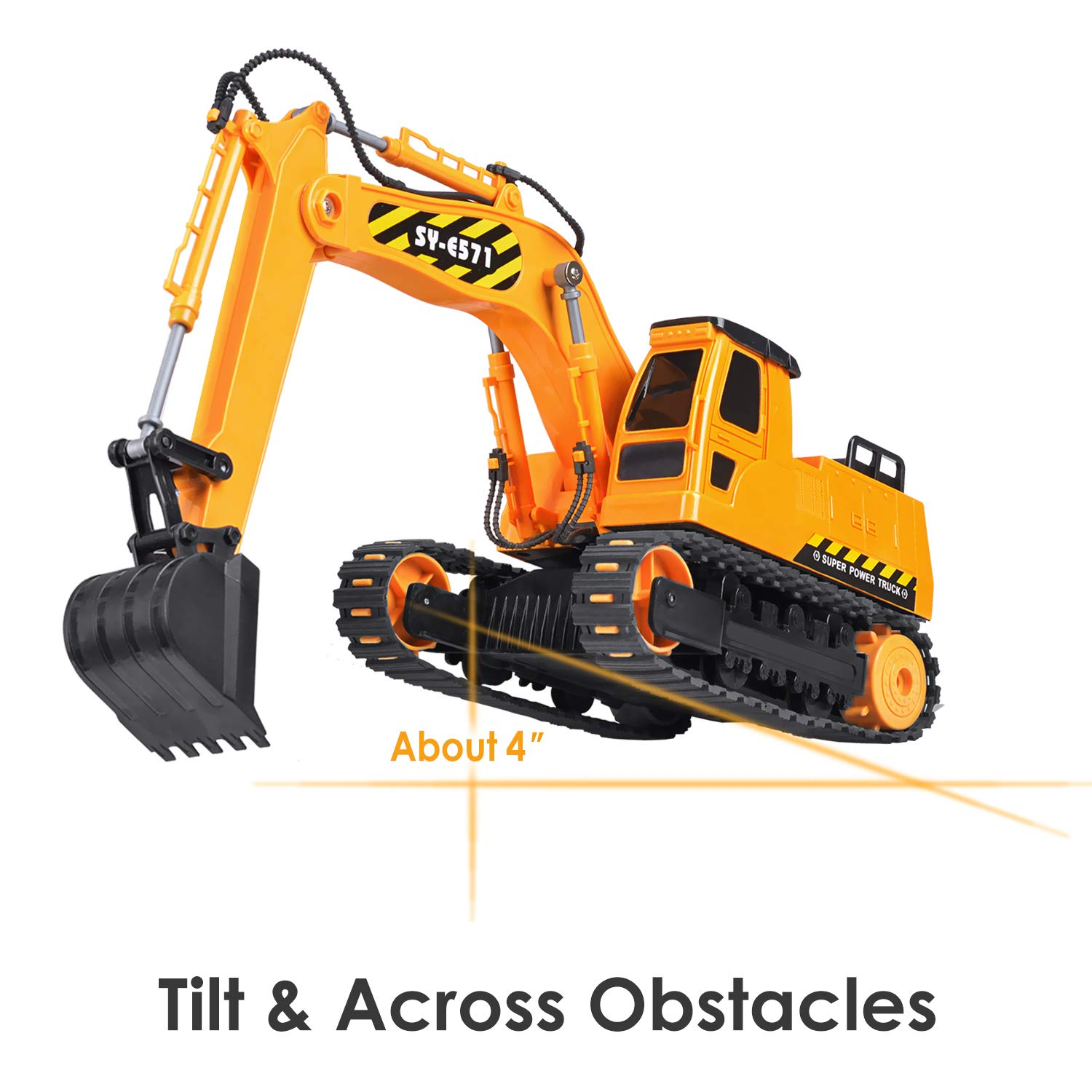 DOUBLE  E Remote Control Truck RC Excavator Toy with Rechargeable Battery Lights and Sounds 2.4GHz Construction Vehicles Tractor 1/26 by DOUBLE  E (Image #5)