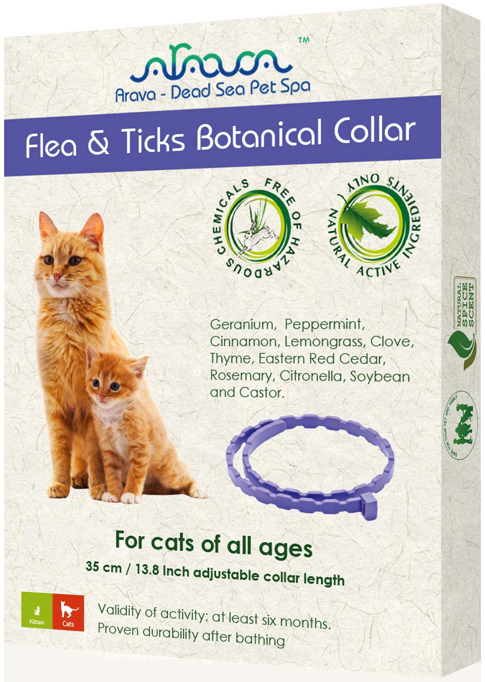 Arava Flea & Tick Prevention Collar - for Cats & Kittens - Length-14'' - 11 Natural Active Ingredients - Safe for Babies & Pets - Safely Repels Pests - Enhanced Control & Defense - 6 Months Protection by Arava - Dead Sea Pet Spa