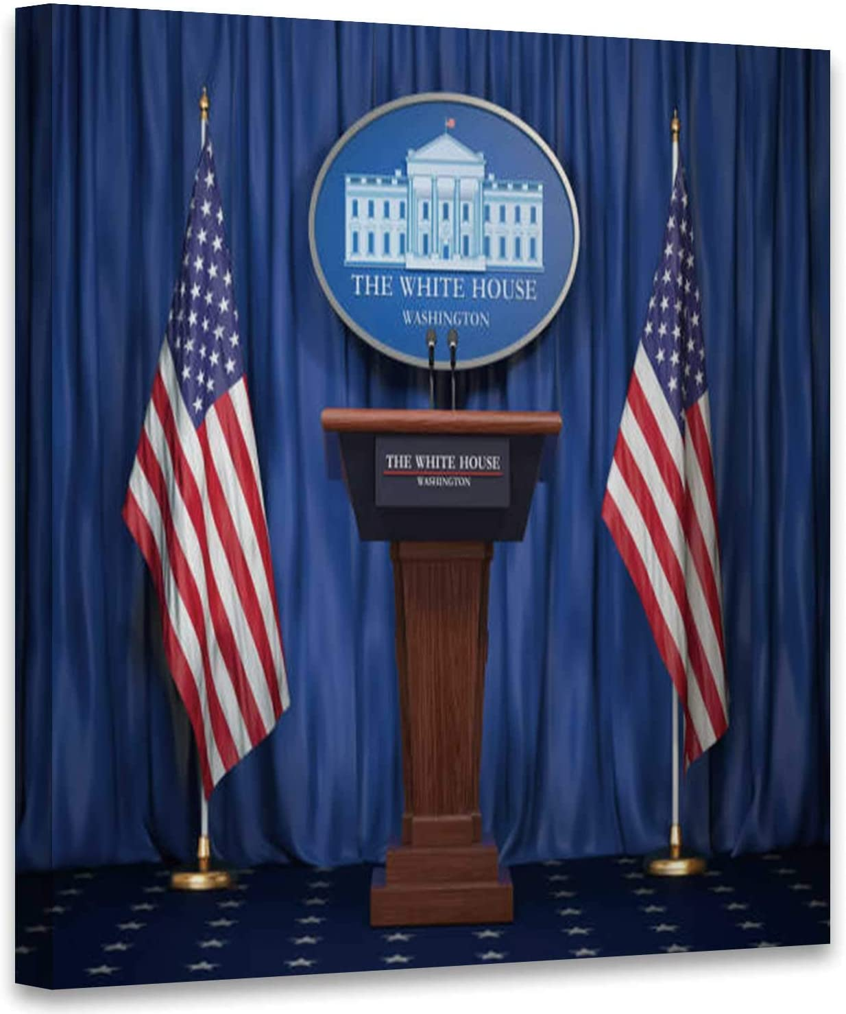 Amazon Com Briefing Of President Us United States In White House Podium Colorful Tribune With Usa Flags And Sign Houise Politics Concept Usa Art Print For Kitchen Washington Dc Art Print For Office Decor 12x12