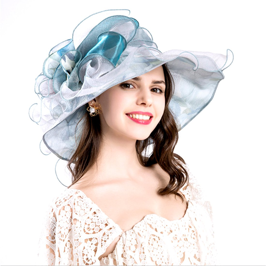 d51c4944ed5 Vakabva Church Derby Hats Kentucky Derby Gold Hats for Women (Blue) at  Amazon Women s Clothing store