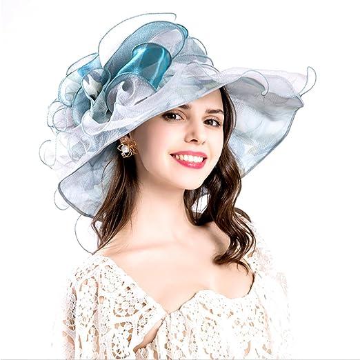 f0d77981a3b47 Vakabva Church Derby Hats Kentucky Derby Gold Hats for Women (Blue ...