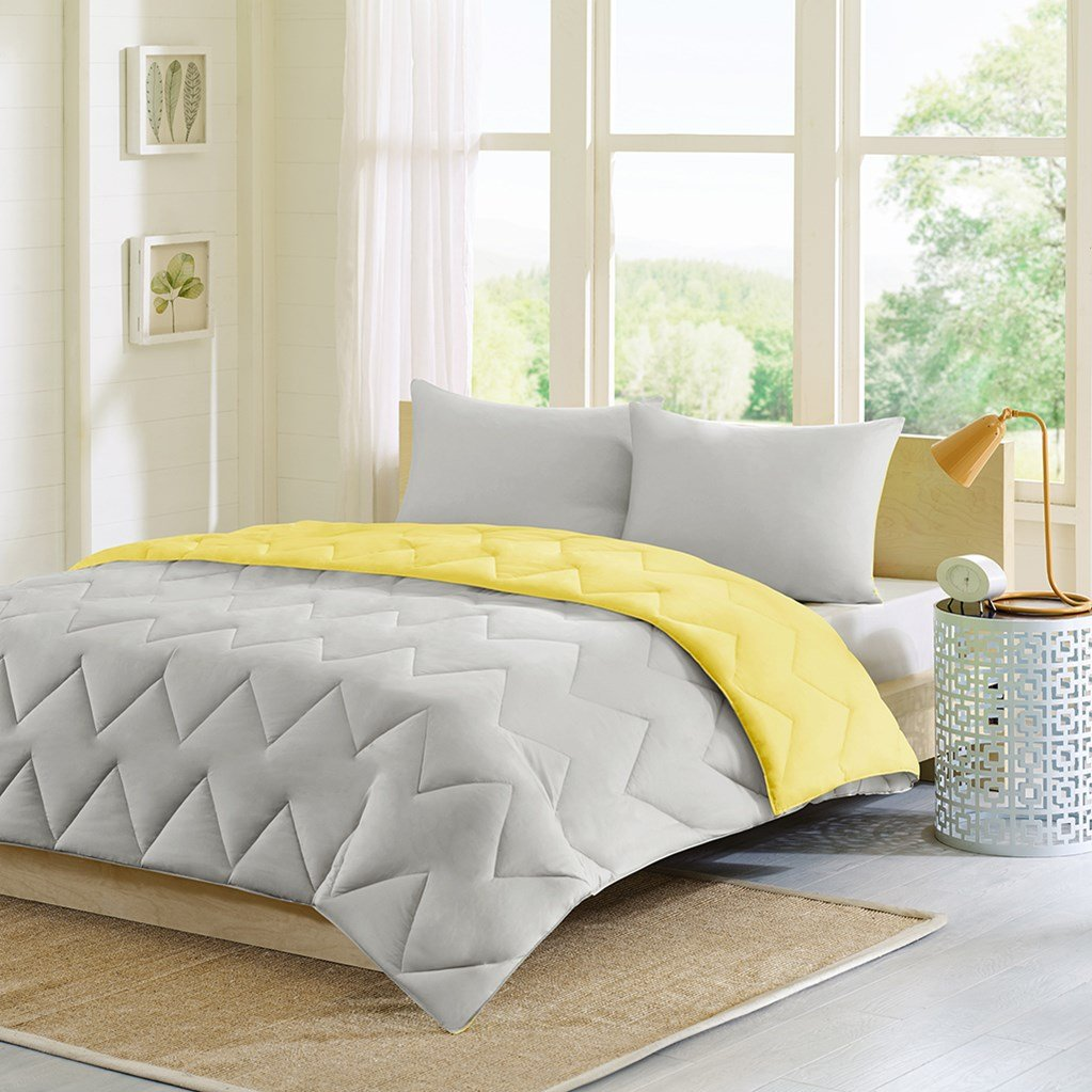 Alternative Comforter Mini Set, Grey/Yellow, Twin/Twin X-Large