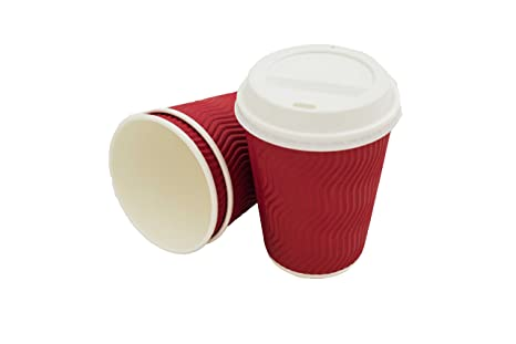 04a8afe2e68 Premium Disposable Coffee Cups with Lids | Red 12 oz Cups (50 Count)