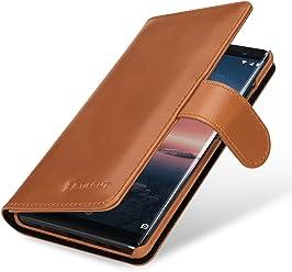 StilGut Talis Housse Nokia 8 Sirocco avec Porte-Cartes en Cuir véritable. Étui Portefeuille pour Nokia 8 Sirocco à Ouverture latérale et Languette magnétique, Cognac