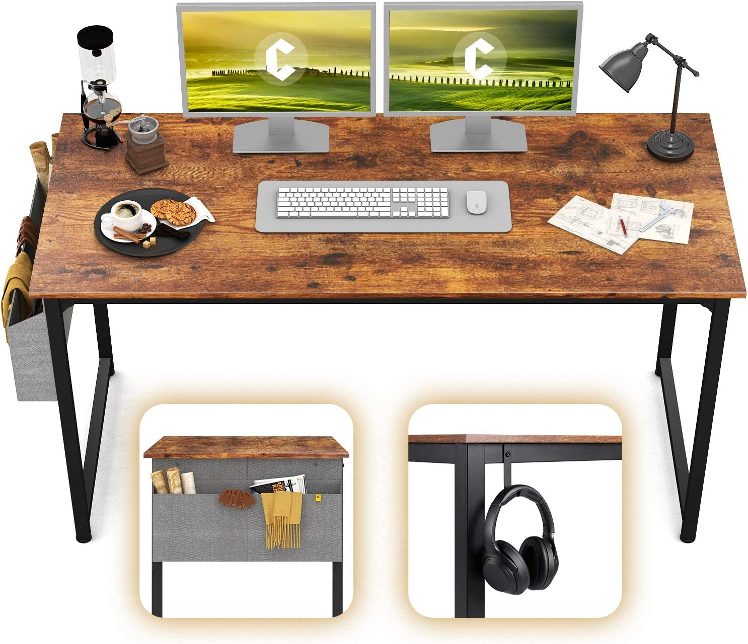 "CubiCubi Study Computer Desk 55"" Home Office Writing Desk, Industrial Simple Style PC Table, Black Metal Frame, Rustic"