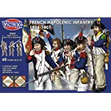 French Napoleonic Infantry 1804-1807 - 60 Figure Box with Flags - 28mm Plastic Miniatures