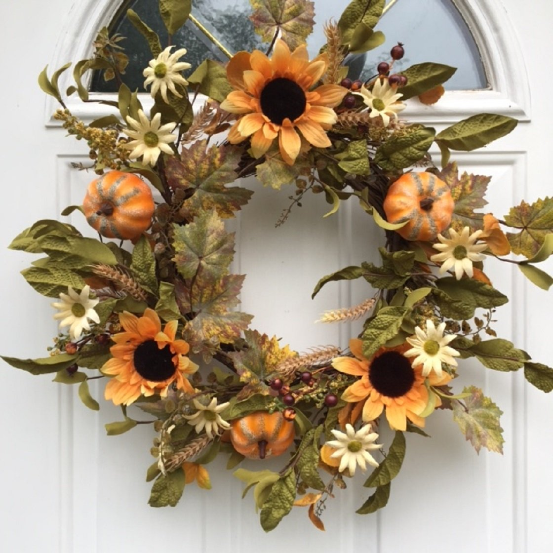 Harvest Hollows Fall Wreath 22 Inch Handmade with Sunflowers Pumpkins Berries Wheat and Fall Leaves Front Door Wreath Thanksgiving Decoration