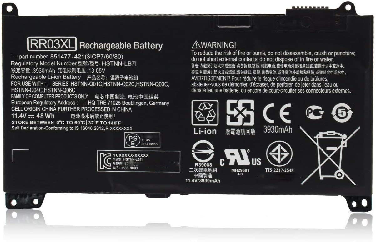 RR03XL Laptop Battery for HP ProBook 430 440 450 455 470 G4 MT20 HSTNN-UB7C 851477-541 851610-850( 11.1V 48Wh)