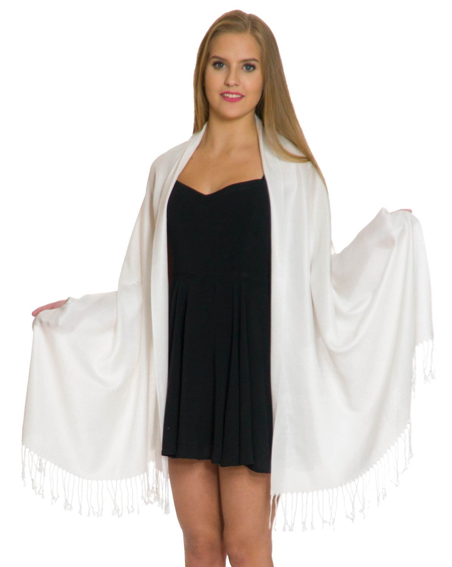 Pashmina Shawls and Wraps - Large Scarfs for Women - Party Bridal Long Fashion Shawl Wrap with Fringe by Petal Rose Off White by Petal Rose