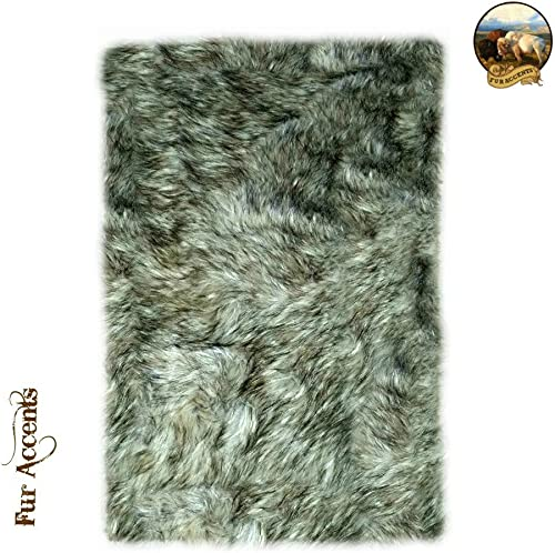 Fur Accents Premium Faux Fur Shaggy Wolf Skin, Coyote Throw Area Rug Rectangle with Bonded Ultra Seude Back No Toxic Rubber or Foam 5 x7 , Gray Wolf