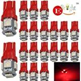 EverBright 20-Pack Red T10 194 168 2825 W5W 5050 5-SMD LED Bulb For Car Replacement Interior Lights Clearance Wedge Dome Trunk Dashboard Bulb License Plate Light Lamp  DC 12V