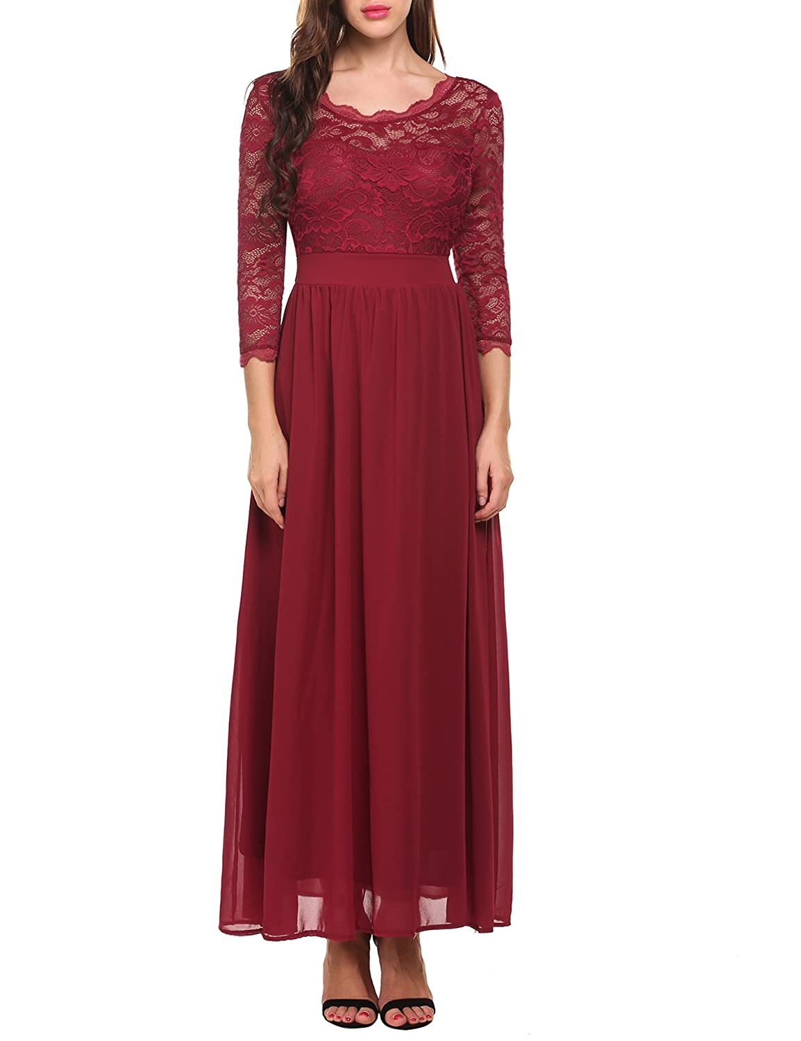 Vintage Inspired Cocktail Dresses, Party Dresses Acevog Womens Floral Lace 2/3 Sleeves Long Formal Evening Dress Maxi Dress $34.99 AT vintagedancer.com