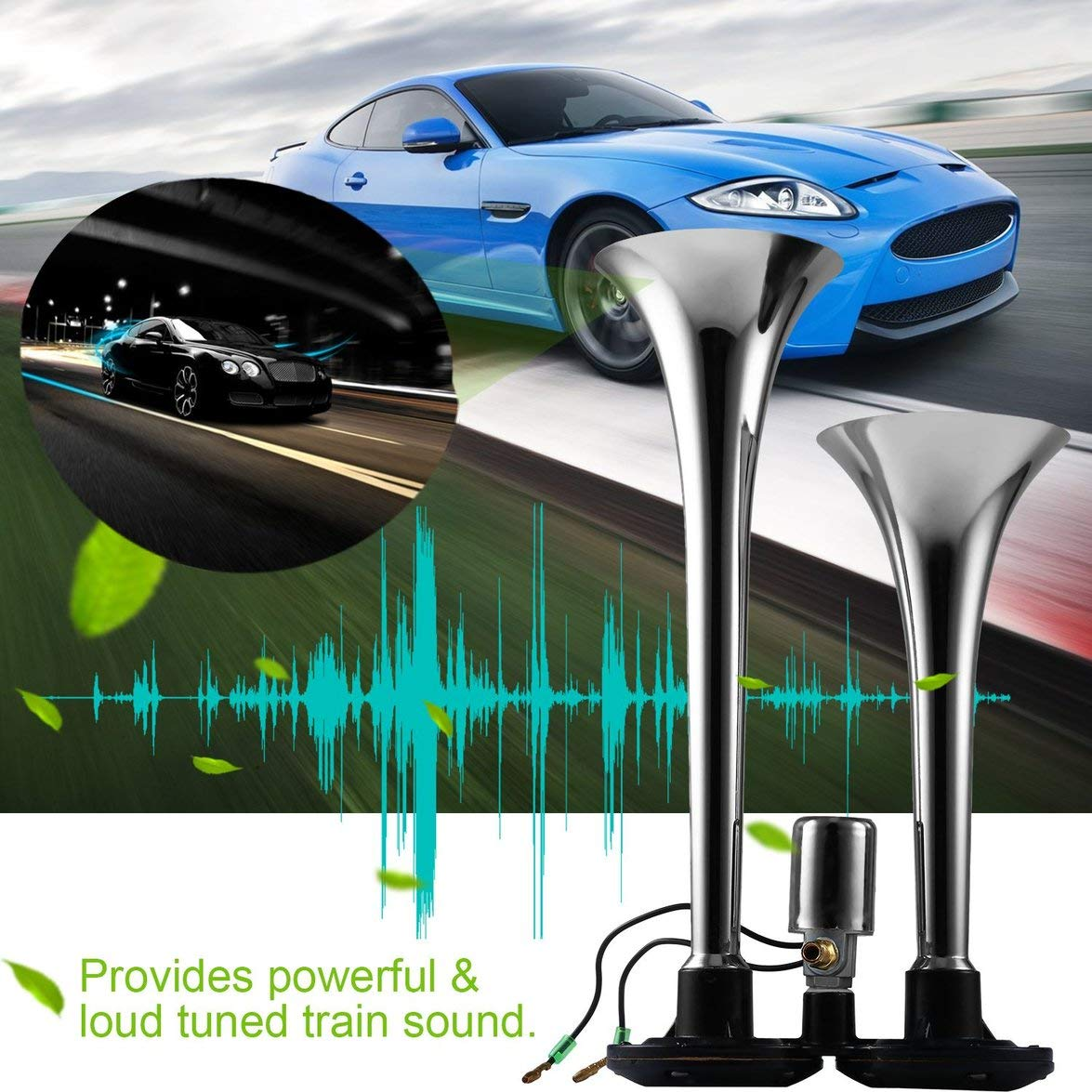 Amazon.com: MqbY 24V 128DB Electric Air Horn Super Loud Dual Trumpet Air Horn Powerful Metal Vehicle Horn for Car Truck Train Lorry Boat: Car Electronics