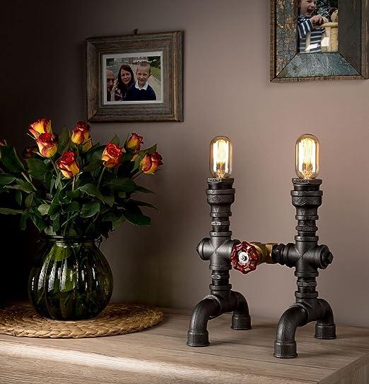 Lámpara Steampunk con Caños de Luz Industrial usadas como lámparas ...
