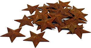 CVHOMEDECO. Primitives Rustic Country Décor. Rusty Small Metal Barn Star Home Decorative Accents, 2-Inch, Set of 24