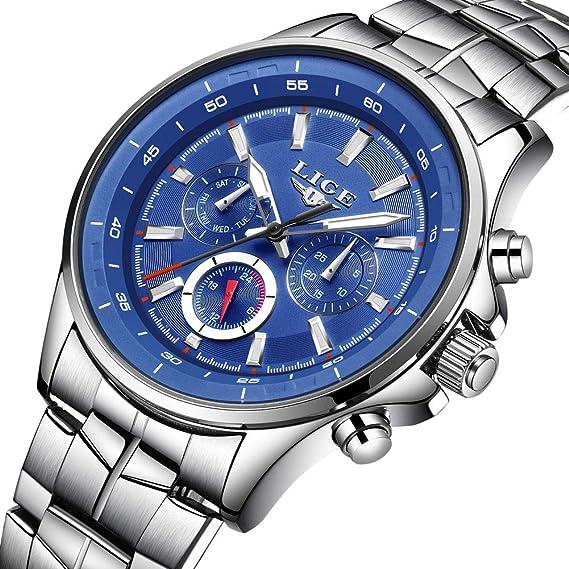 LIGE Relojes Hombres De Lujo Marca Deporte Impermeable Analógico Cuarzo Reloj Hombres Acero Inoxidable Moda Reloj de Pulsera Hombre Azul: Amazon.es: Relojes