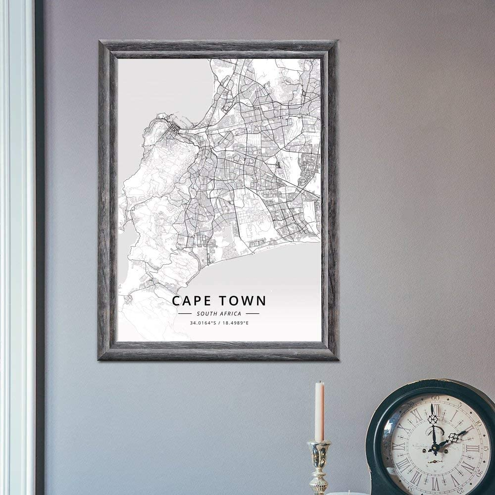 20 /× 30 cm ZWXDMY Leinwand Bild,S/üdafrika Kapstadt Stadtplan Drucken Schwarze Und Wei/ße Linien Abstrakt Leinwand Poster Bild Wandbild Coffee Shop Office Studie Dekoration