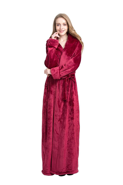 Amazon.com: Find Dress Women\'s Extra Long Microfiber Fleece Bathrobe ...