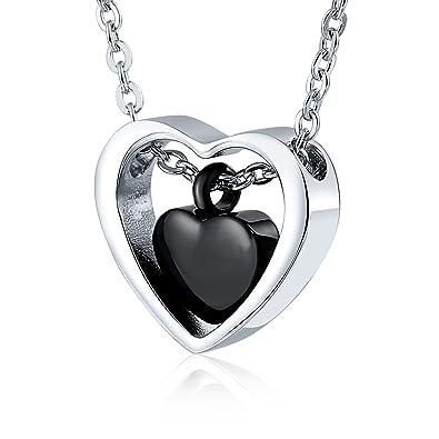 KnSam-Recuerdos Maravillosos&Collar Colgante Gato Colgante de En Forma de Corazón Colgante para Cenizas&Negro