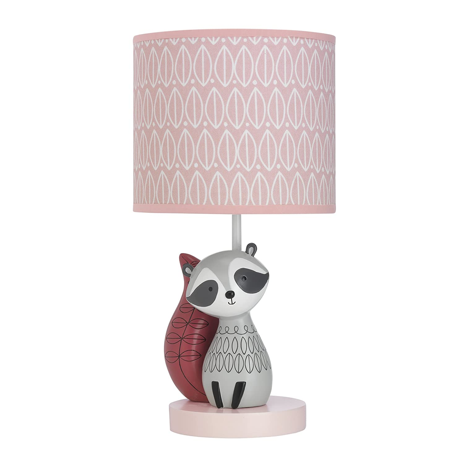 Lambs & Ivy Little Woodland Raccoon Lamp with Shade & Bulb, Pink/White 698024B