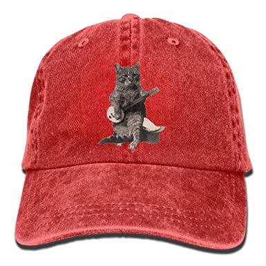 2558aa3fd3f Amazon.com  Cat Playing Banjo Guitar Adult Cowboy Hat Baseball Cap ...