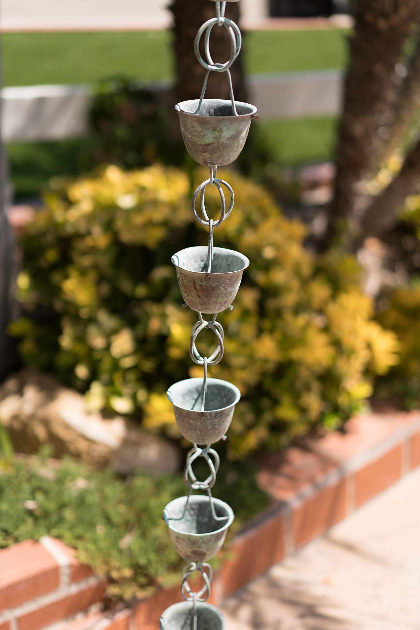 Monarch Pure Copper Hammered Cup Rain Chain, 8-1/2-Feet Length (Green Patina) by Monarch Rain Chains