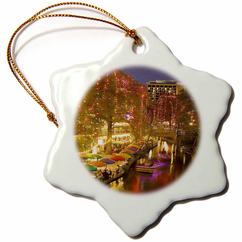 3 inch Snowflake Porcelain Ornament US44 WBI0261 orn/_94614/_1 TEXAS USA Texas San Antonio Riverwalk Area//Evening Walter Bibikow 3dRose Danita Delimont