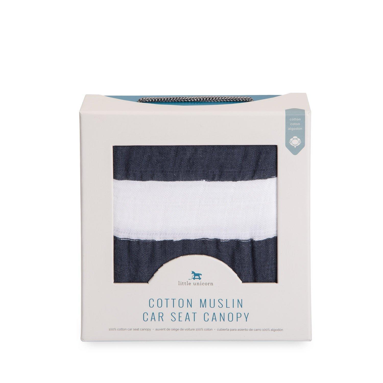 Amazon.com: Little Unicorn Cotton Muslin Car Seat Canopy - Navy Stripe: Baby