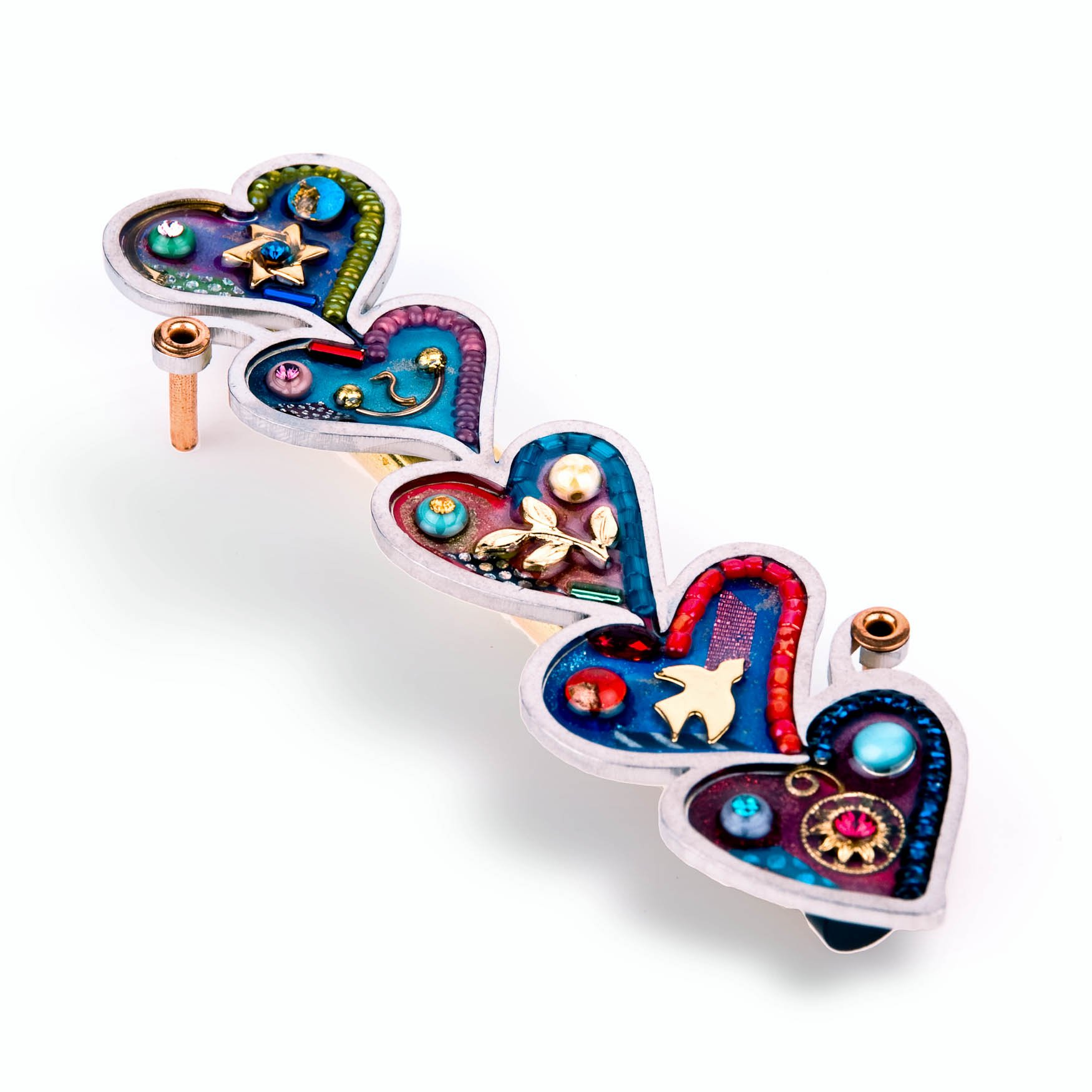 Seeka Tower of Hearts Mezuzah Curated and sold by The Artazia Collection M0952