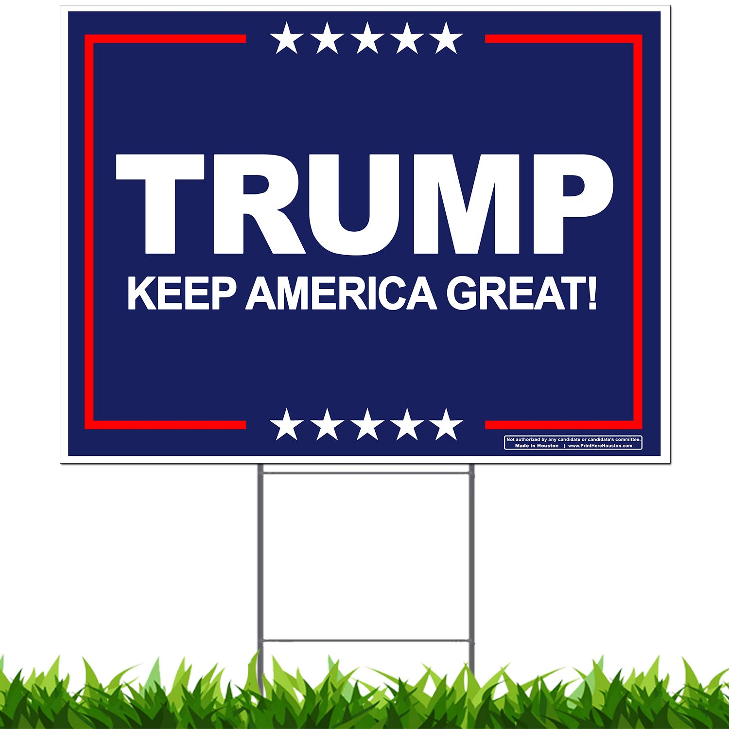Vibe Ink President Donald Trump - Keep America Great! - 2020 Campaign Political Yard Sign (24''x 18'') Includes Metal Stake (100)