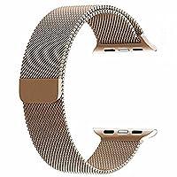 top4cus para Correa de Apple Watch, Electrochapeado Doble Milanese Aro Reemplazo de Acero Inoxidable iWatch Pulsera con Cerradura magnética para Apple Watch (Oro, 38mm Longitud Regular)
