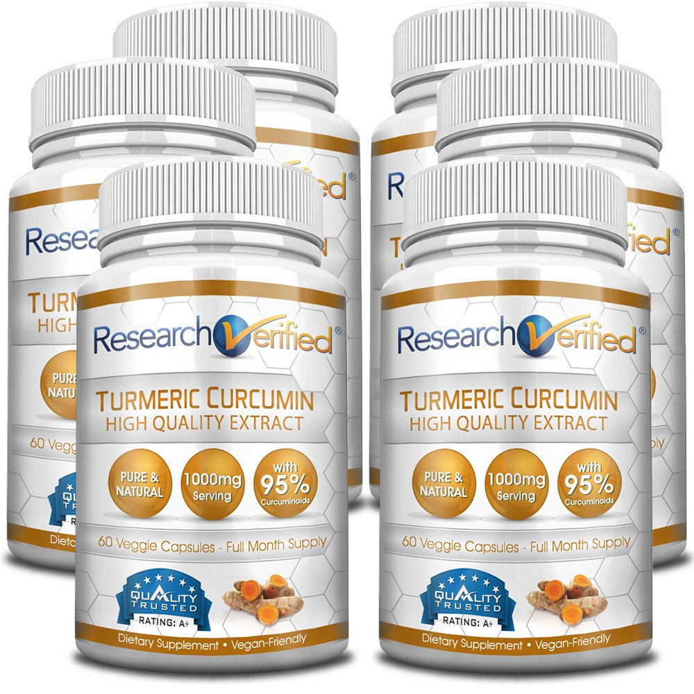Research Verified Turmeric Curcumin - Vegan with BioPerine, 95% Standardized Curcuminoids - Natural Anti-Inflammatory, Antioxidant, Pain Relief and Antidepressant - 6 Bottles (6 Months Supply)