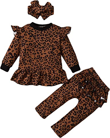 Borlai Bebé Niña Trajes de Leopardo Camisa con Volantes ...