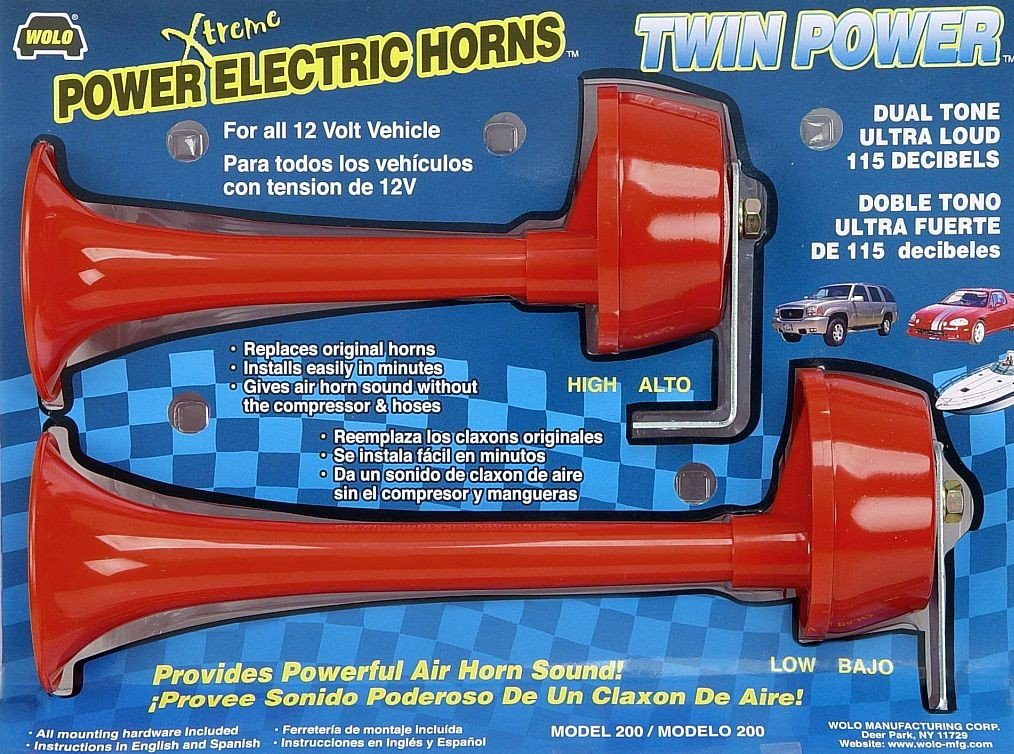 Amazon.com: Wolo (200) Twin Power Red Plastic Trumpet Horns - 12 Volt, Low and High Tone: Automotive