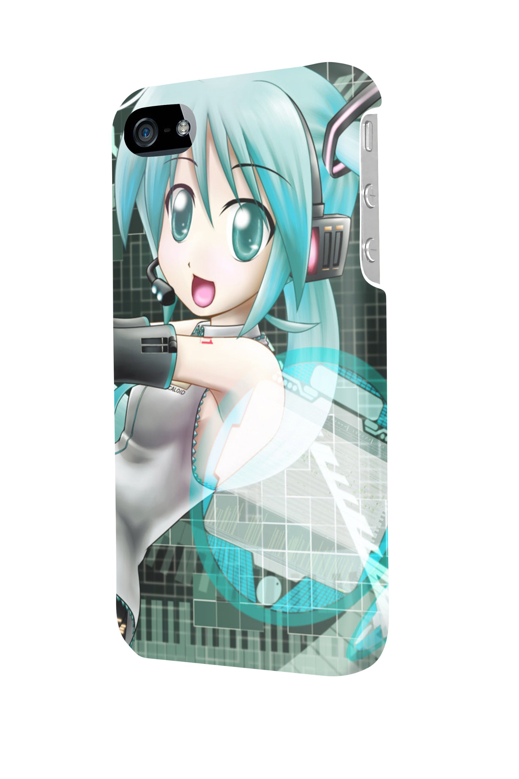 ip50535Vocaloid Hatsune Miku Cute Cartoon Glossy Custodia protettiva Case Cover for iPhone 5/5S