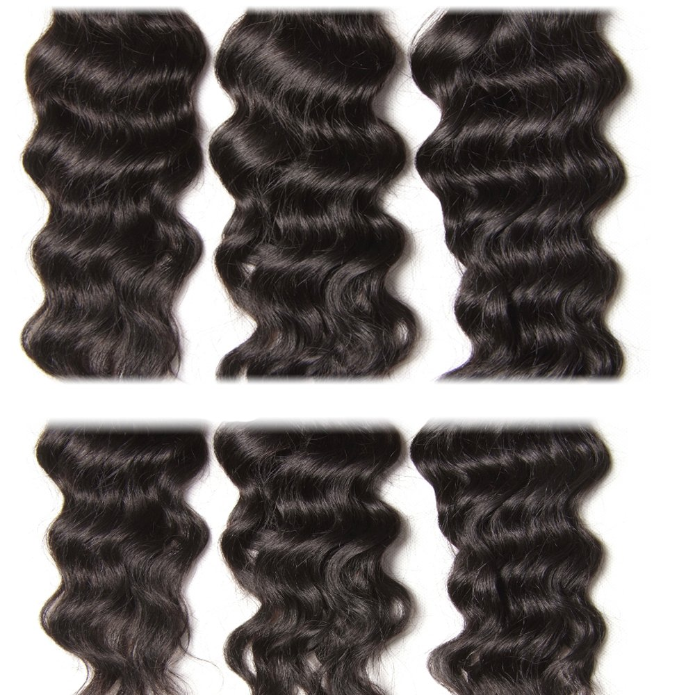 Longqi 7a Unprocessed Virgin Hair Brazilian Natural Wave Bundles Pack of 3 Cheap Wavy Human Hair Bundles Deal (18 20 22inch, Natural Color) by Dinoce (Image #4)