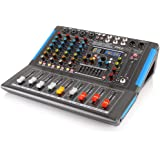 4-Channel Bluetooth Studio Audio Mixer - DJ Sound Controller Interface with USB Drive for PC Recording Input, XLR Microphone