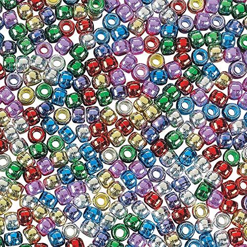 Fun Express - Shiny Pony Beads ( 1 Lb) - Craft Supplies - Kids Beading - Plastic Beads - 2000 Pieces