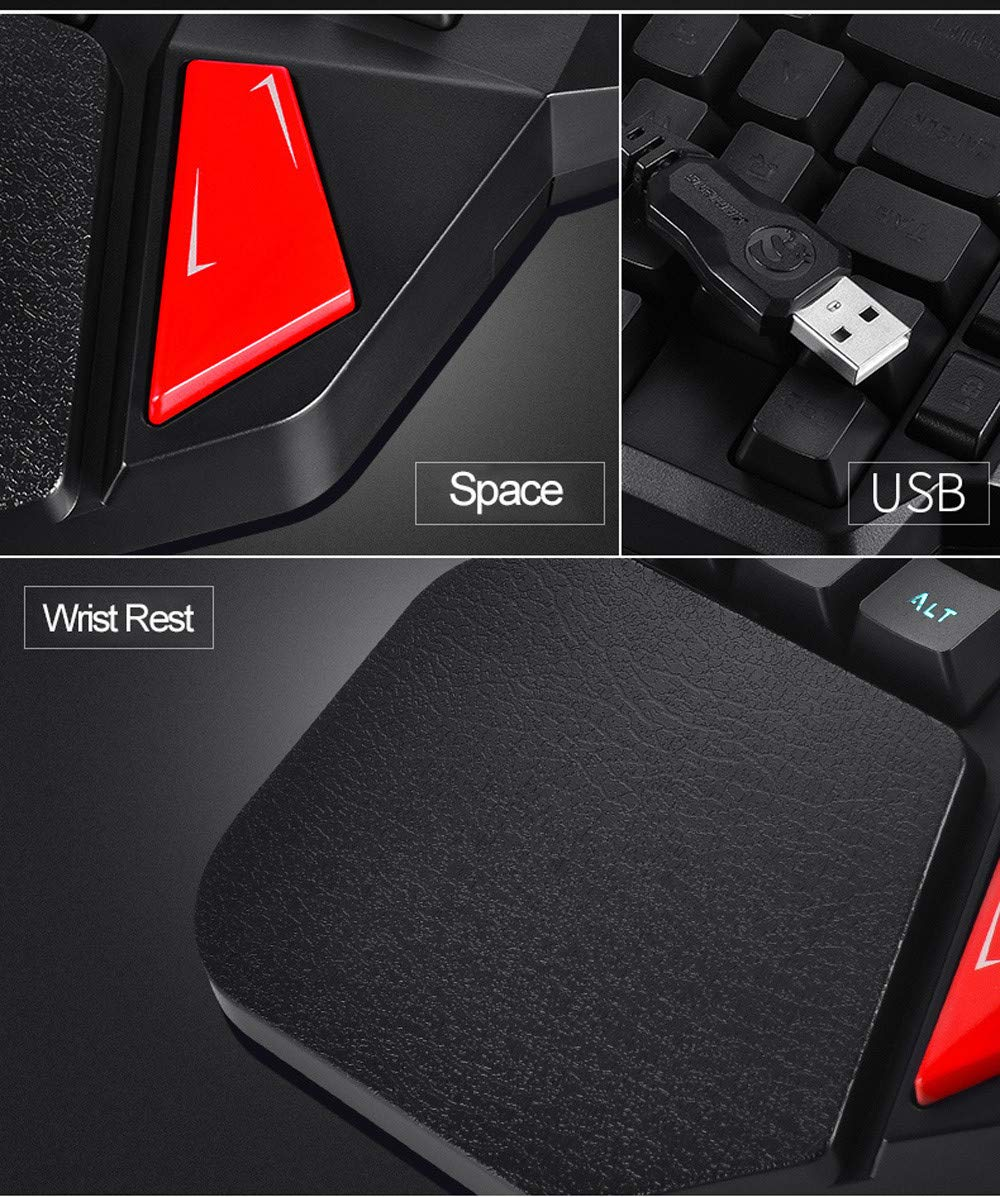Hisoul One-Handed Gaming Keyboard, K108 Wired 38 Keys LED Backlit USB Ergonomic Gaming Keyboard for PUBG CNF and LOL Gamer (Black) by Hisoul (Image #8)
