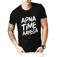 Leotude Men's Cotton Apna Time Aayega Printed Tshirts
