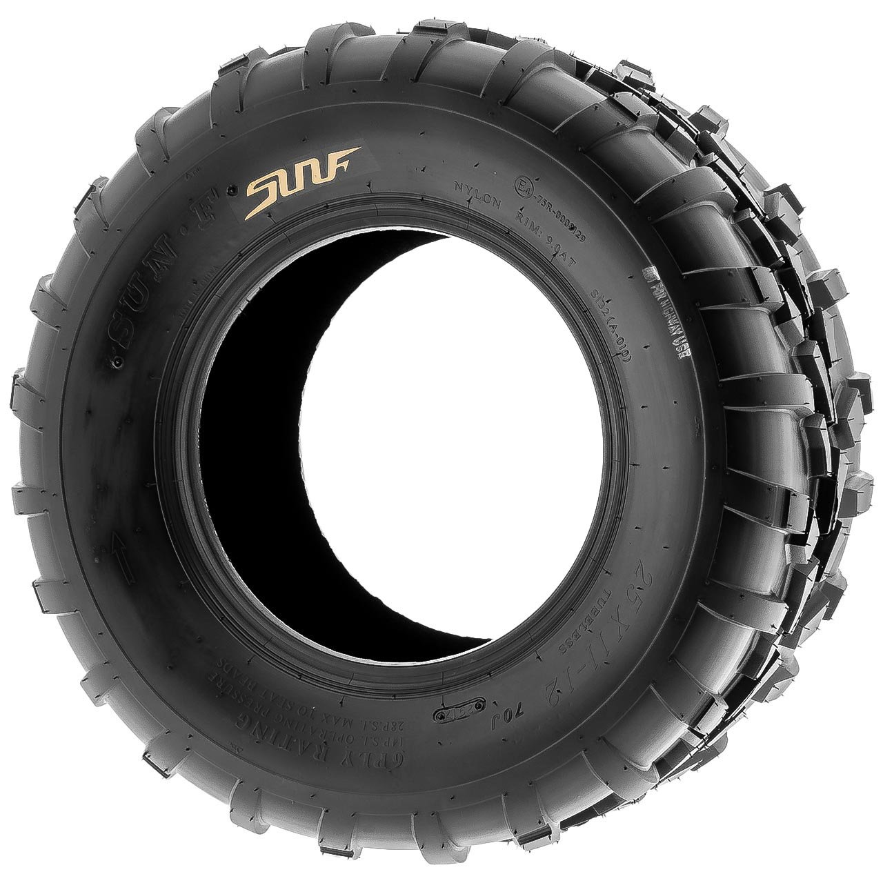 Pair of 2 SunF 25x11-12 AT-XC ATV/UTV Off-Road Tires , 6PR , Directional Knobby Tread | A010 by SunF (Image #3)