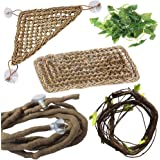 PINVNBY Bearded Dragon Accessories Lizard Hammock Jungle Climber Vines Flexible Leaves Habitat Reptile Decor for Climbing, Chameleon, Lizards, Gecko, Snakes