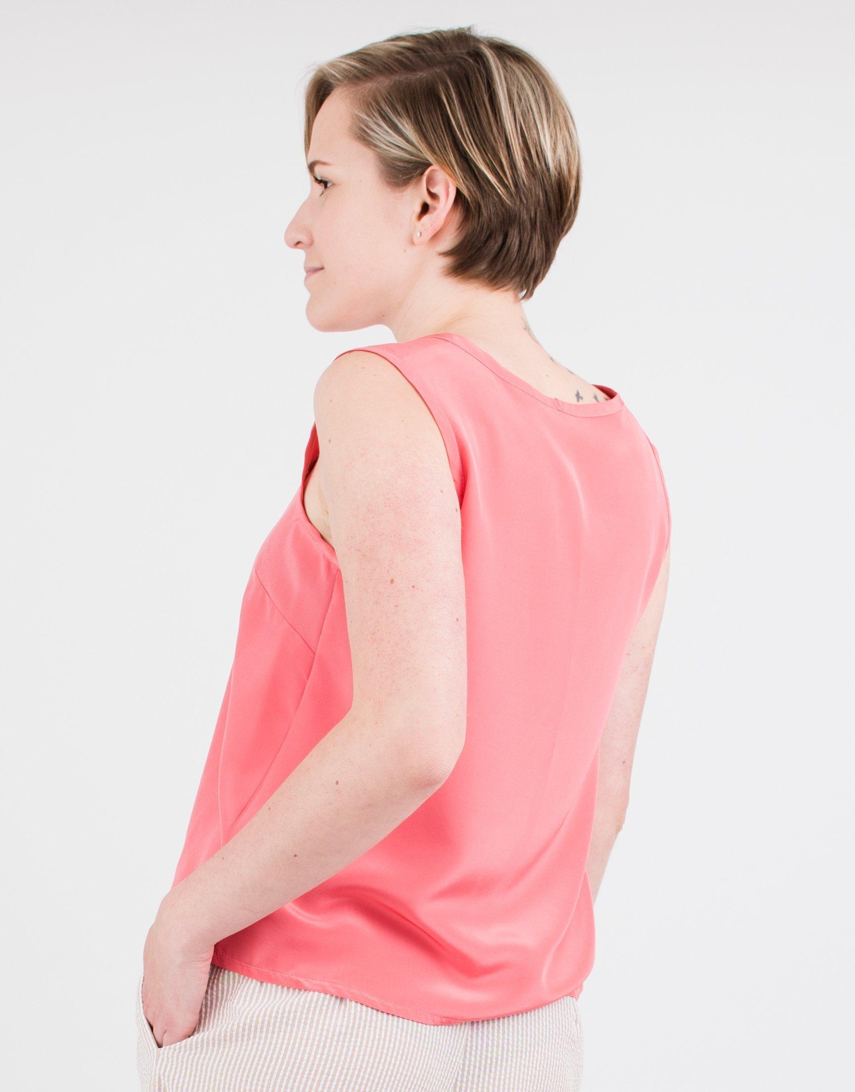 Women's Sleeveless Pink Salmon Silk Top by BAUH designs