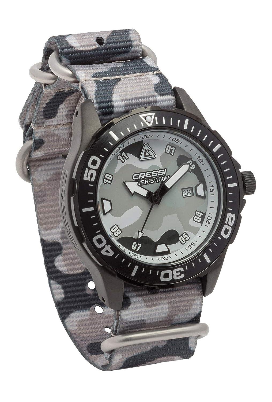 Cressi Manta Watch Reloj Submarino, Negro Correa Tejida Grigio Camou, Uni: Amazon.es: Deportes y aire libre